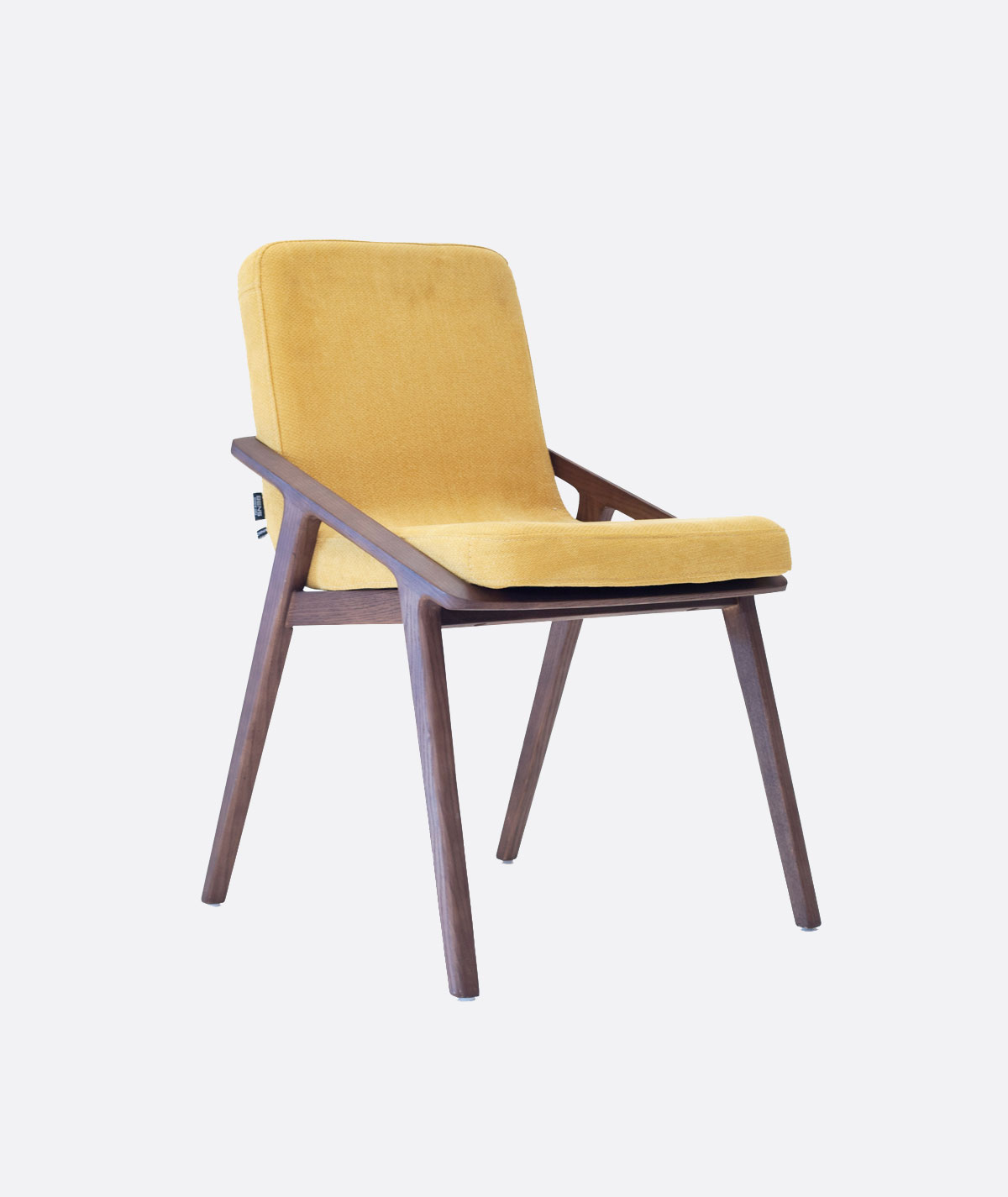 Arca Yellow Upholstered Dining Chair Walnut Wood Curved Seat Dining Chair Aura Interiors Cape Town